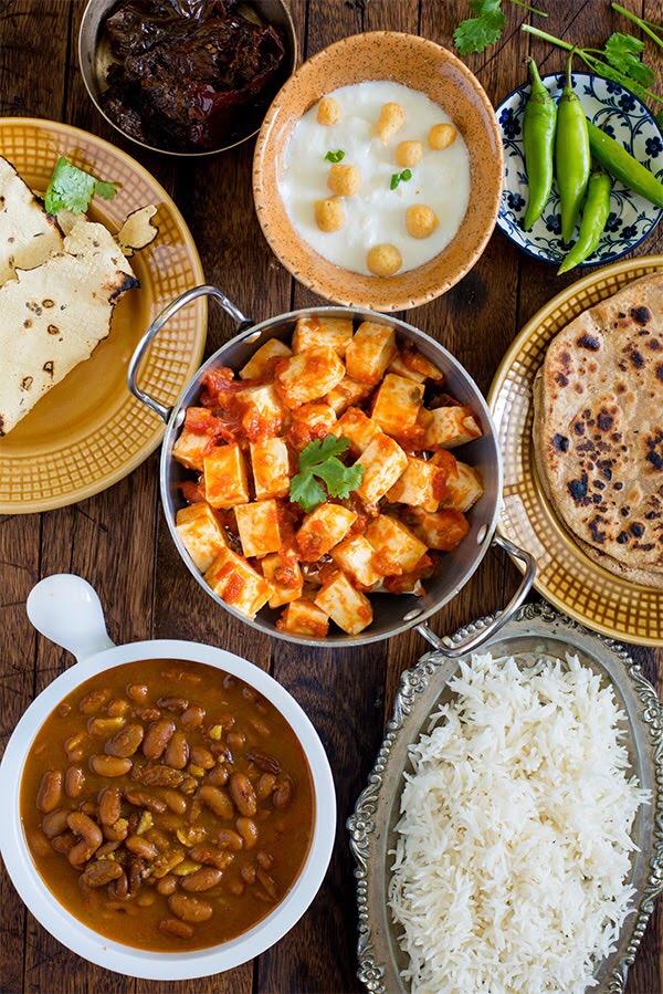 Paneer Tomato and Rajma curry Meal