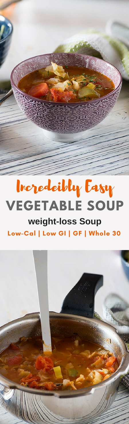 This Vegetable weight loss soup recipe isdelicious, healthy, filling and flavourful.Make this healthy soup in 20Minutes with the help of your pressure cooker or Instant Pot. Gluten-free, Low GI, whole 30 Soup recipe. New recipes in my 20 Minute Meals Recipes. #weightloss #whole30 #glutenfree #lowcalorie #healthy Via @rekhaKakkar