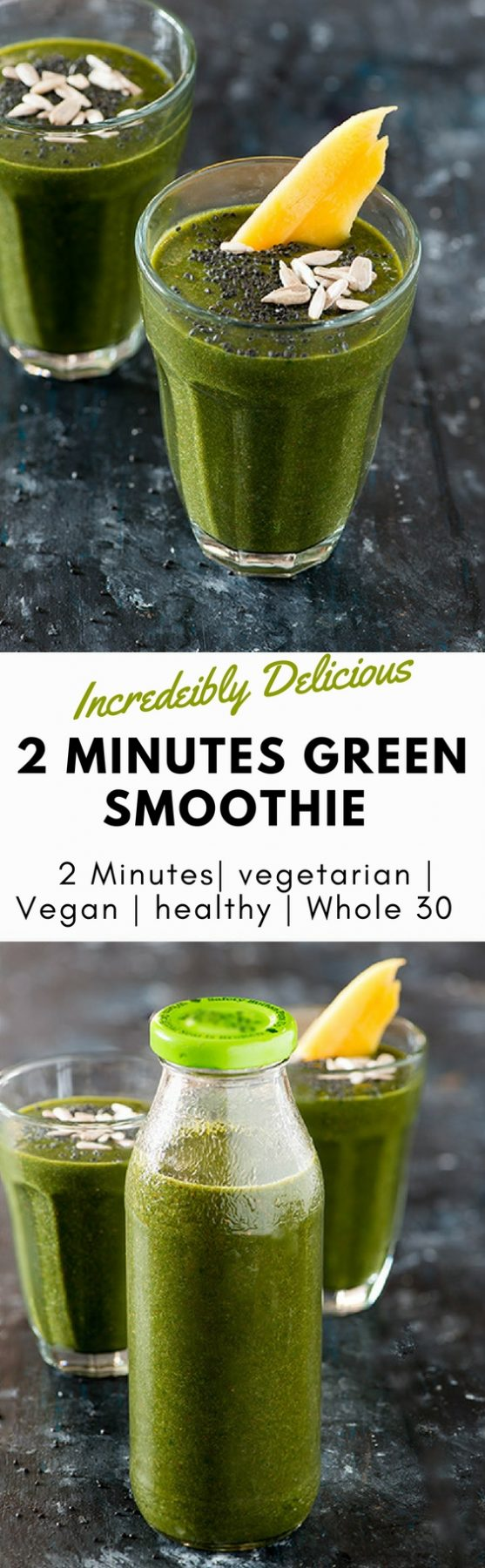 This Green Smoothie recipe is perfect start of a busy morning. All it takes is 2 Minutes to blend it if you have already prepped your ingredients during weekend meal prep. If you are planning a green smoothie cleanse or Green smoothie detox or whole 30 this is perfect vegetable smoothie recipe for you #WHOLE30 #vegan