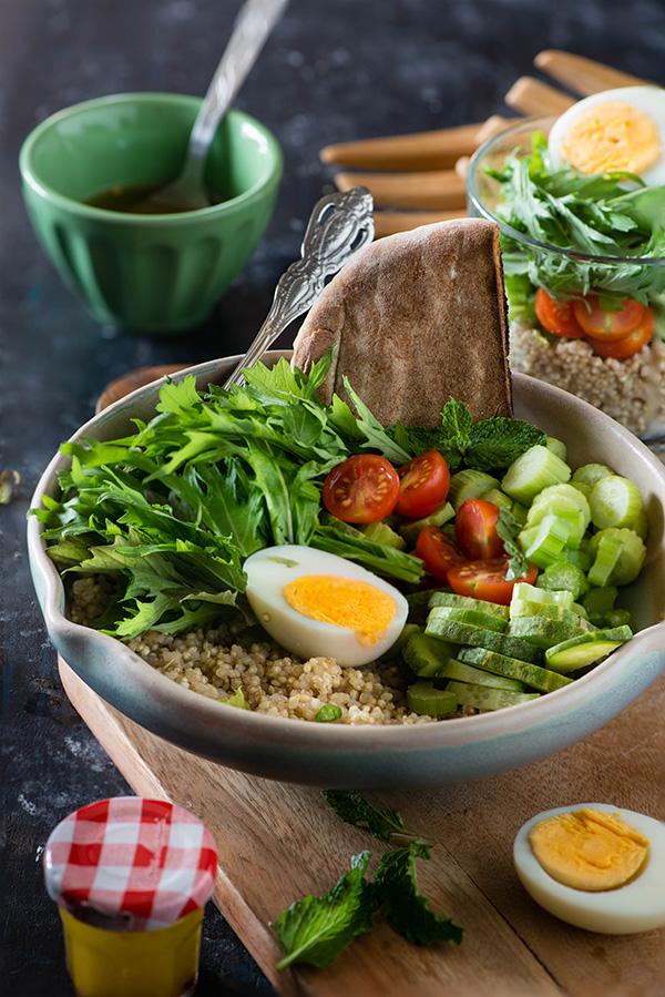 Mizuna quinoa salad
