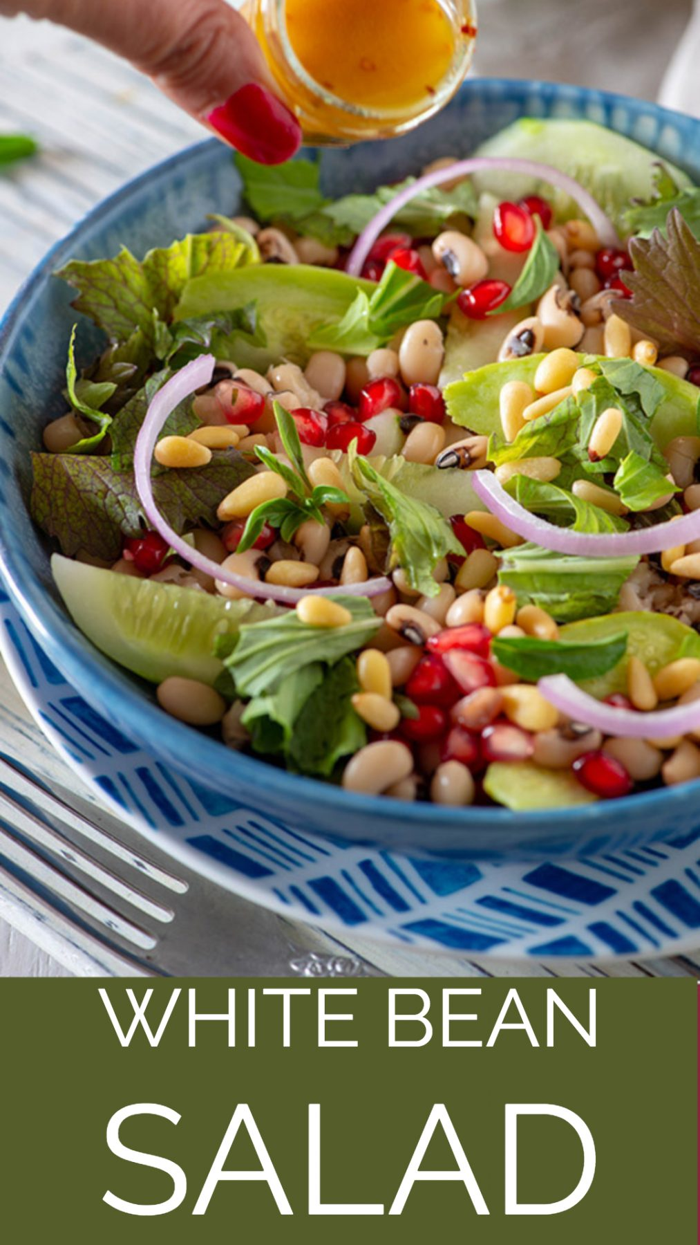 Flavourful white bean salad with black eyed beans in my signature spicy vinaigrette dressing. A variety of summer veggies, the kick from mizuna and Mediterranean inspired flavors, this is our new favorite Summer salad for lunch. One of the best bean salad ever! This is almost perfect for a picnic or packed lunch this summer. #lWhiteBeans #salad #Healthy #glutenfree #keto