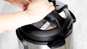 close the lid of instant pot with eggs in it.