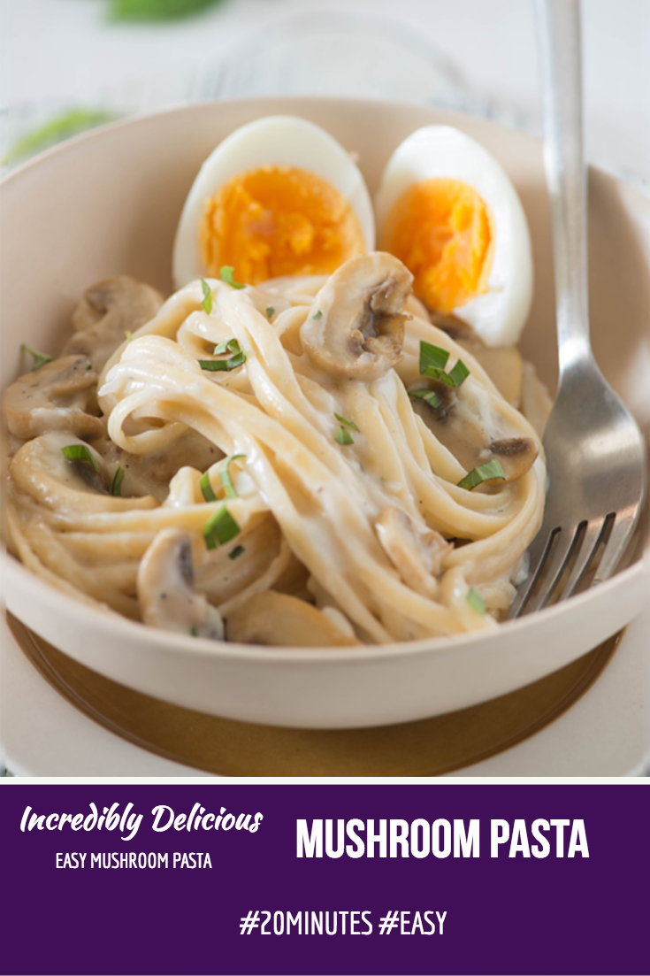 Quick and easy Mushroom pasta recipe in 30 Minutes is perfect for busy weeknight dinner! The creamy velvety white sauce with buttery mushrooms cooked in proper Italian way makes this mushroom pasta a perfect comfort food.