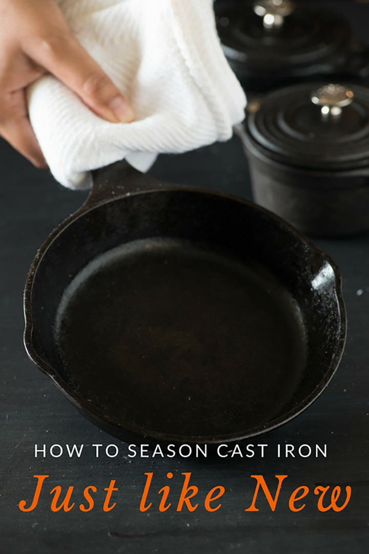 Season cast iron cookware