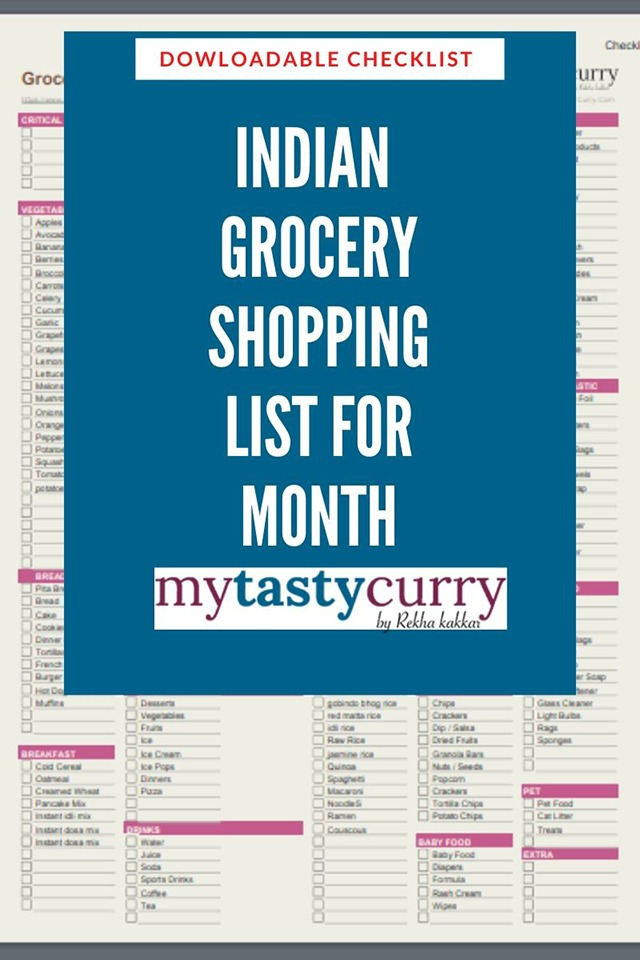 Indian grocery shopping list for month checklist