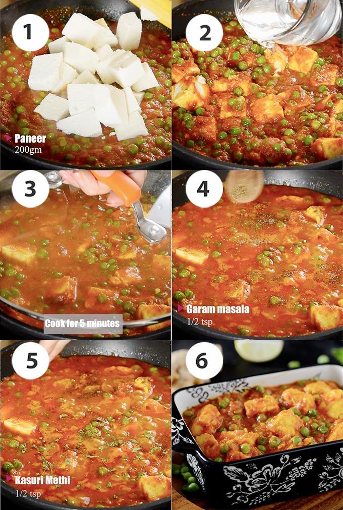 Matar paneer sabji recipe steps