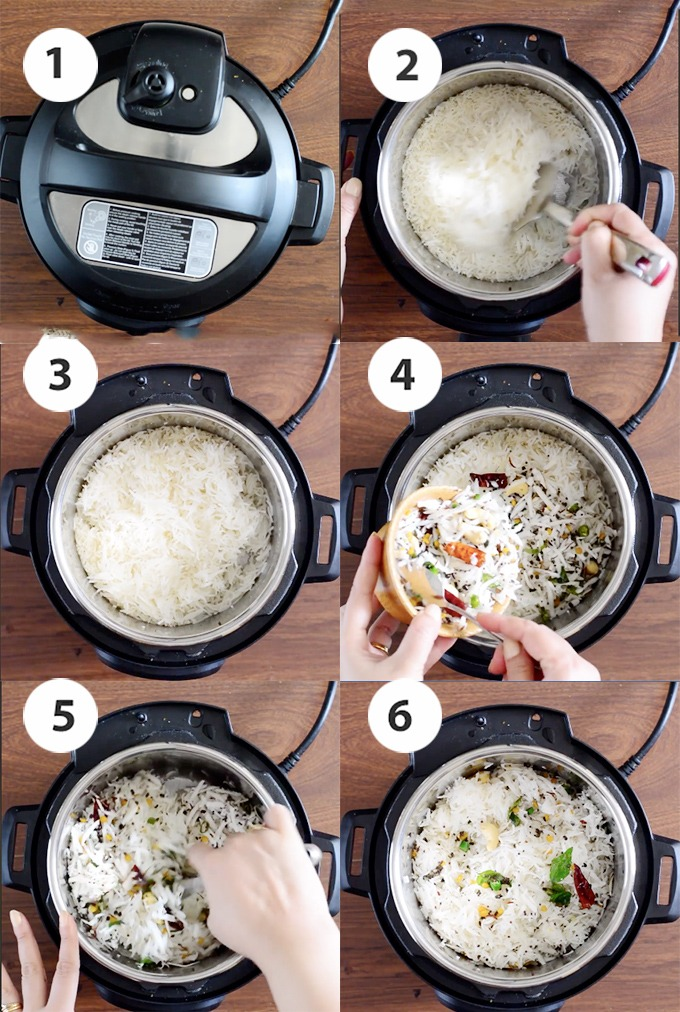 step by step coconut rice cooking process