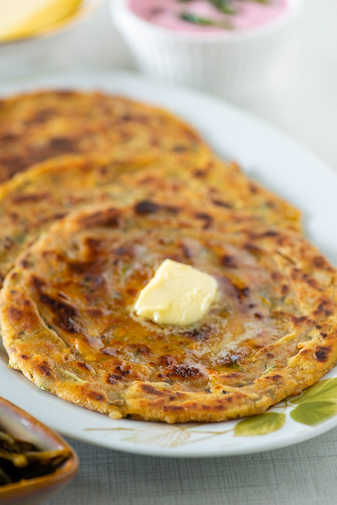 dal paratha with butter