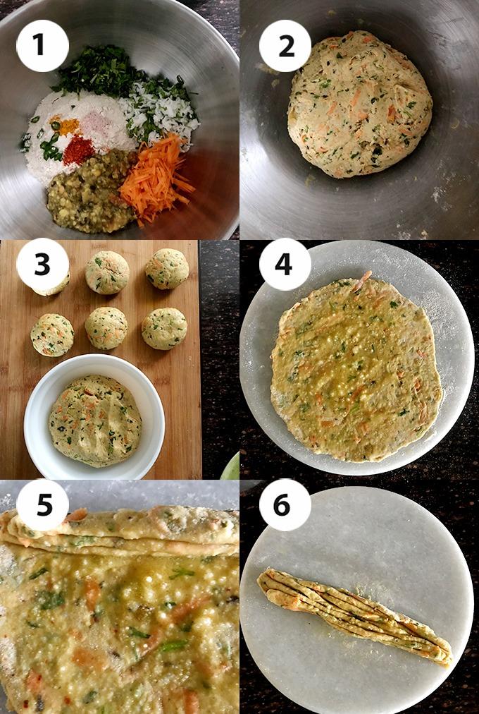 step by step Dal paratha dough making