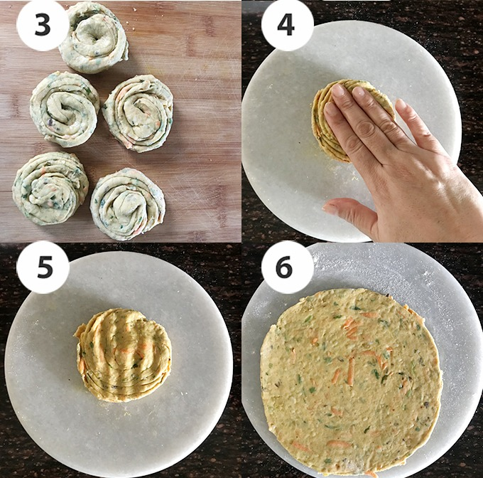step by step rolling of dal paratha