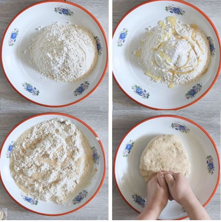 making dough for paratha