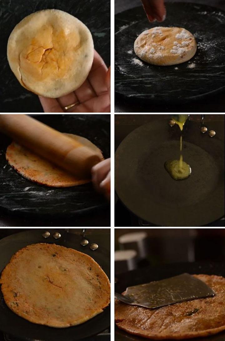 Steps of making masala paratha