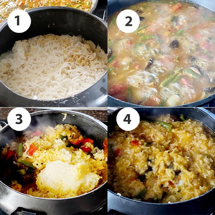 Making sambar sadam or sambar rice