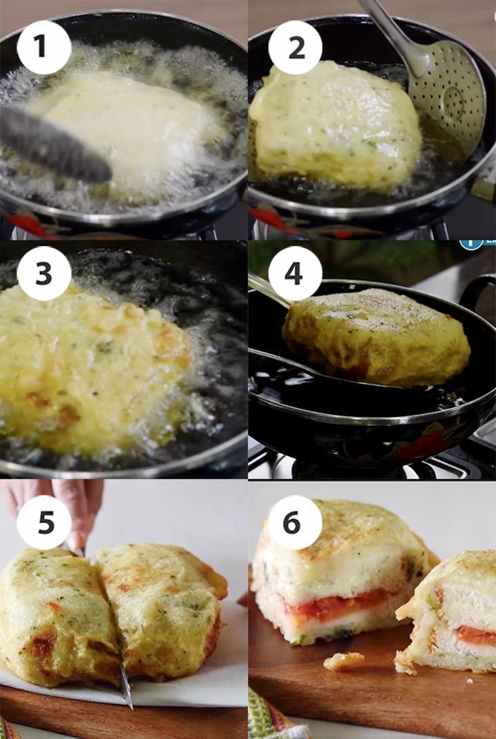 Step by step Bread sandwich pakora snack