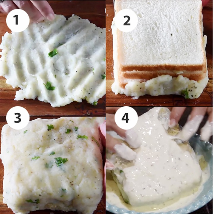 Wrapping bread slices with potato mixture step by step