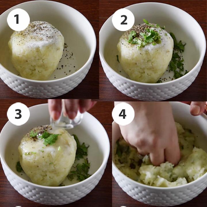 step by step making spiced potato mash