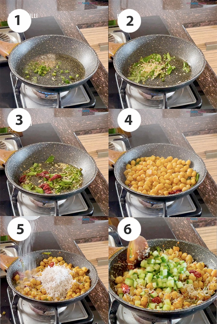 Step by Step recipe pictures chana sundal